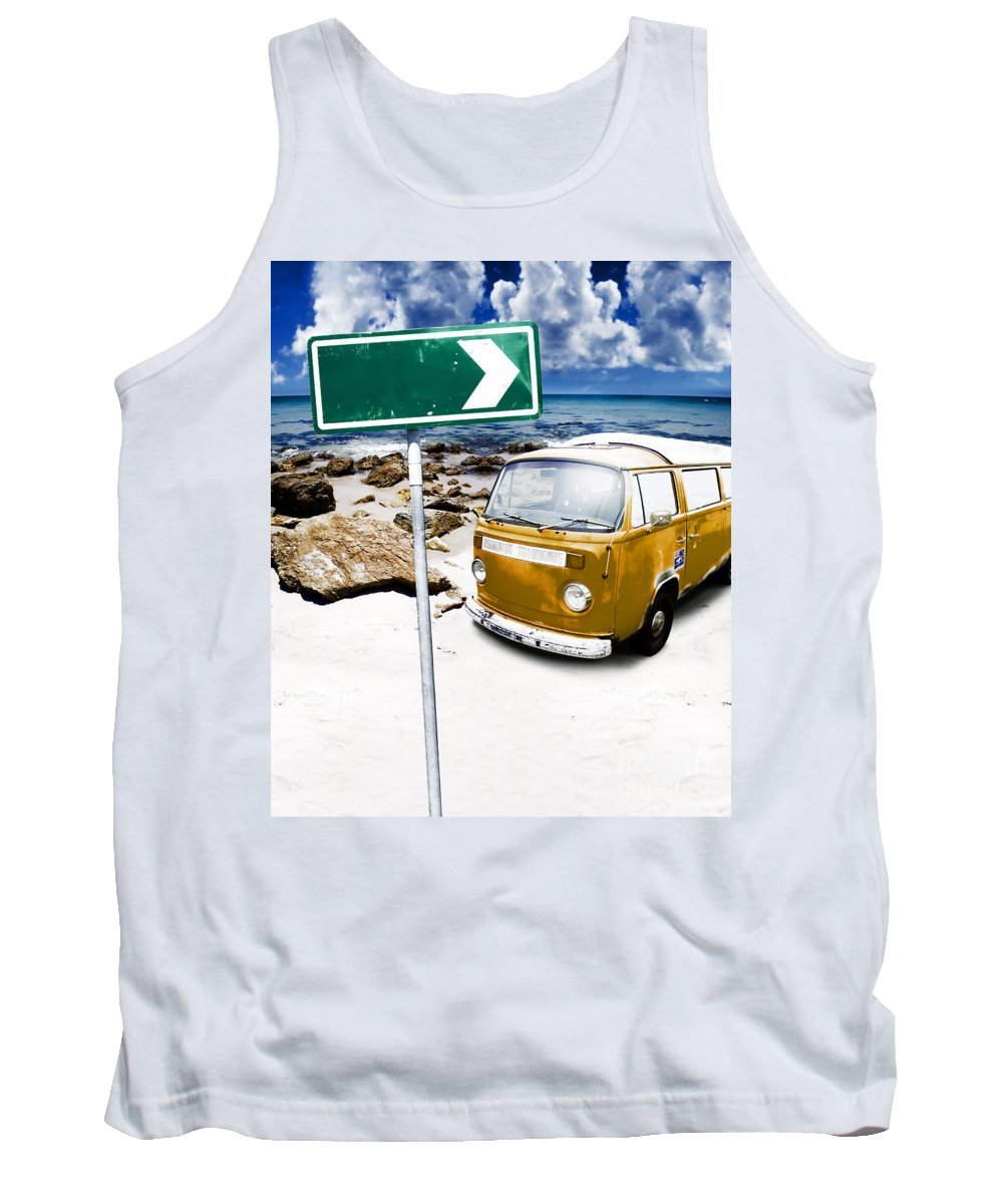 Vacation Tank Top featuring the photograph Retro Beach Van by Jorgo Photography - Wall Art Gallery