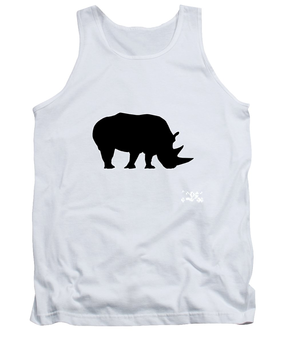 Graphic Art Tank Top featuring the digital art Rhino In Black And White by Jackie Farnsworth