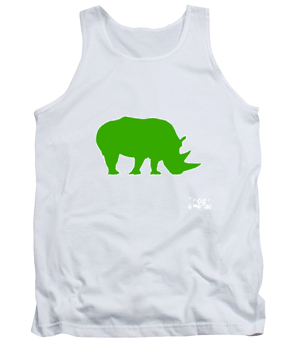Graphic Art Tank Top featuring the digital art Rhino In Green by Jackie Farnsworth