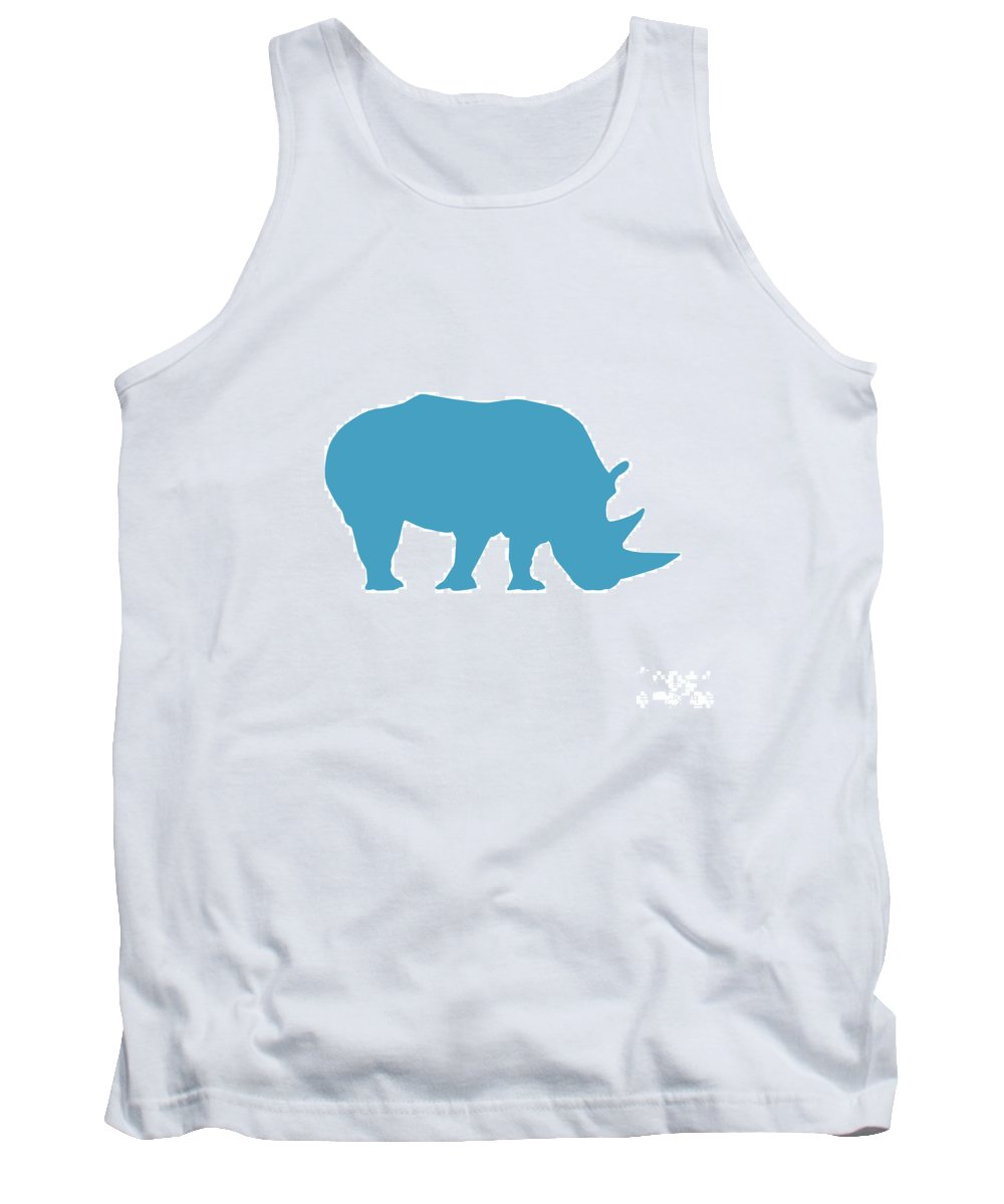 Graphic Art Tank Top featuring the digital art Rhino In White And Turquoise by Jackie Farnsworth