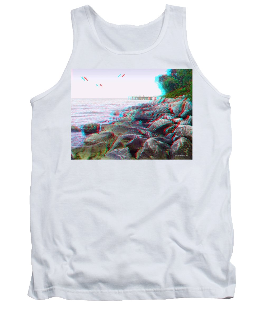 3d Tank Top featuring the photograph Rip Rap - Use Red-cyan 3d Glasses by Brian Wallace