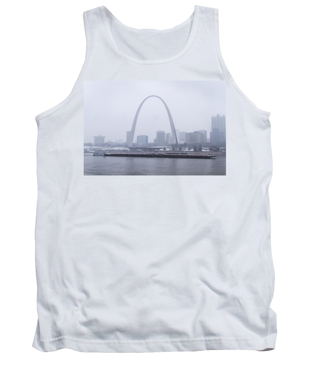 St Louis Tank Top featuring the photograph River Traffic In Front Of The Arch In The Snow by Garry McMichael