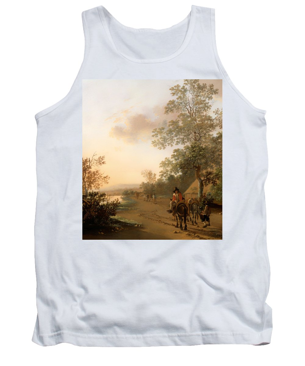 Painting Tank Top featuring the painting Road By The Edge Of A Lake by Mountain Dreams