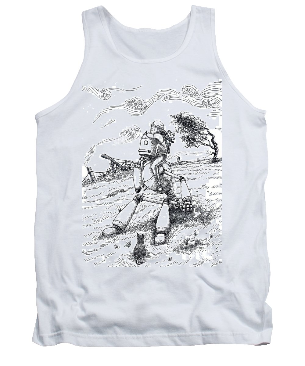 Robot Robby Drawing Landscape Science Fiction Sci Fi Tank Top featuring the drawing Robby And Me by Margaret Schons