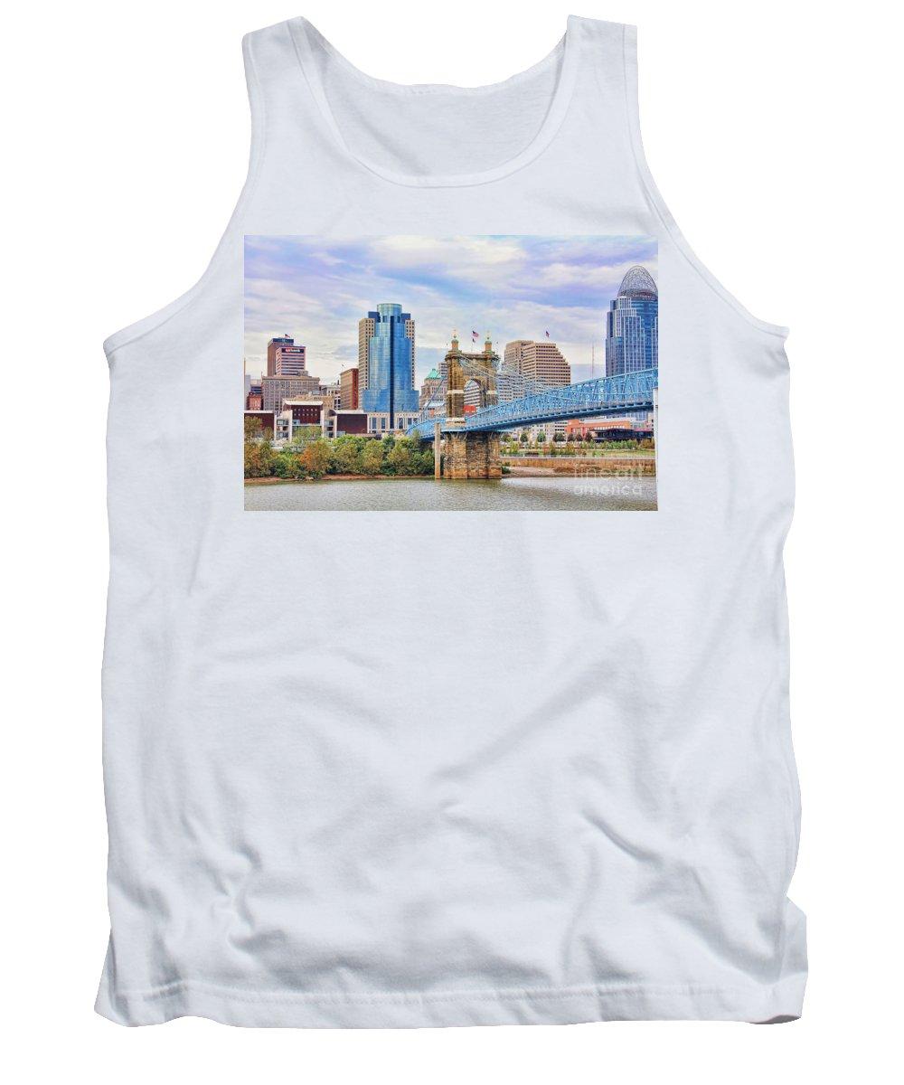 Roebling Bridge Tank Top featuring the photograph Roebling Bridge And Downtown Cincinnati 9850 by Jack Schultz