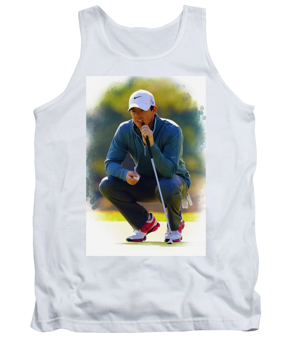 Canada Tank Top featuring the digital art Rory Mcilroy Lines Up A Birdie Putt by Don Kuing