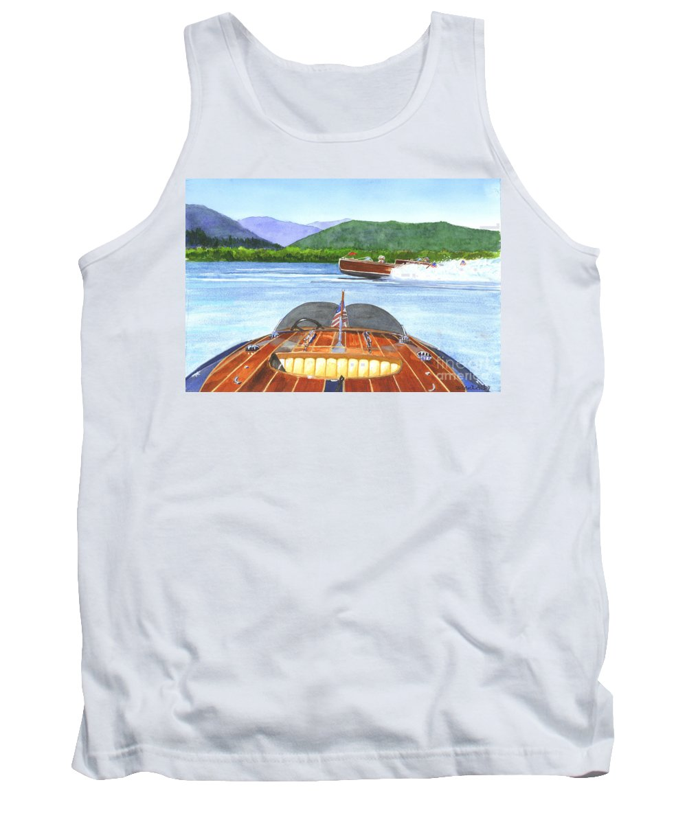 Wooden Boat Image Foreground Tank Top featuring the painting Run About by Susan Dalby