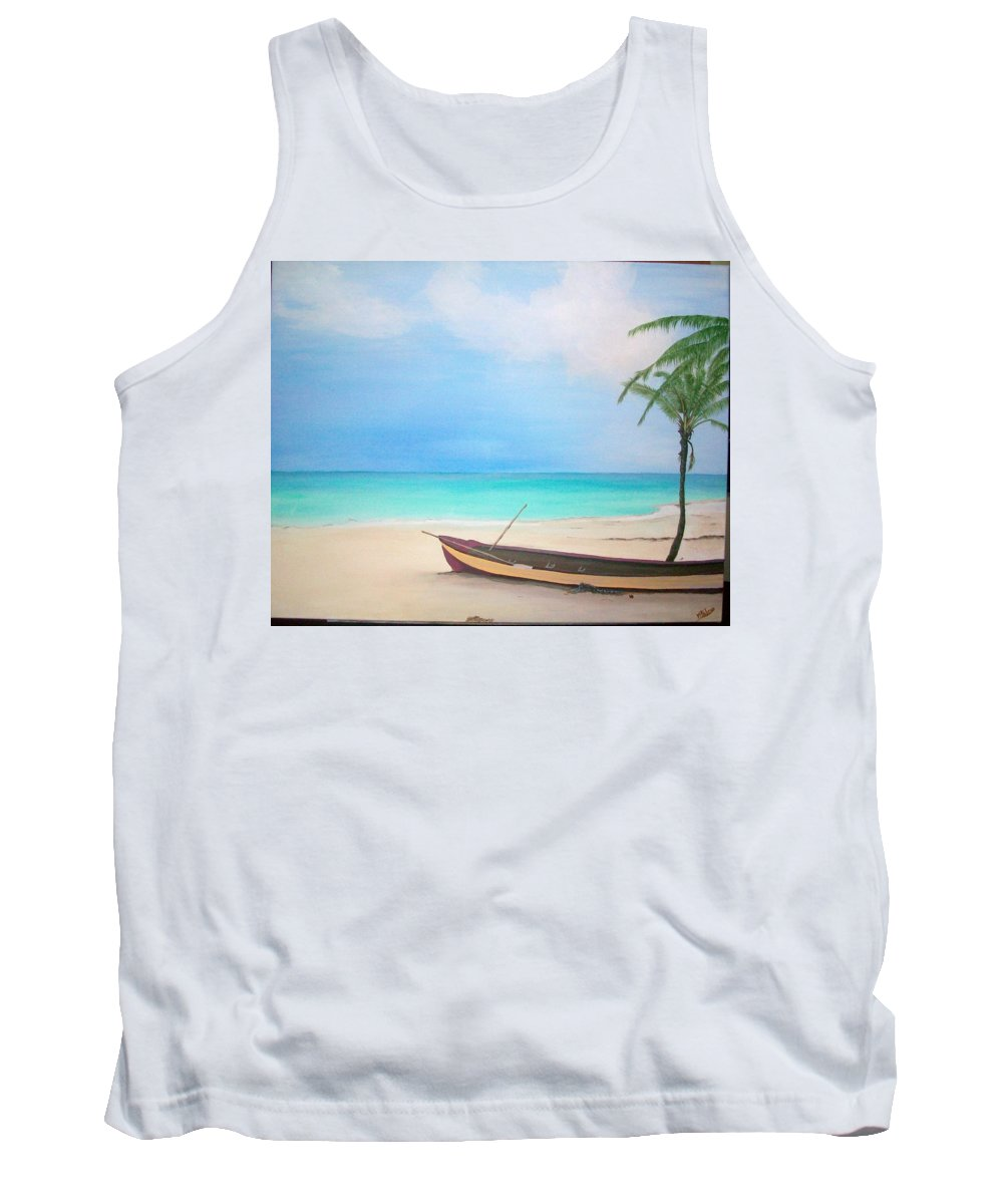 Seascape Tank Top featuring the painting Runaway Bay by V P Holmes