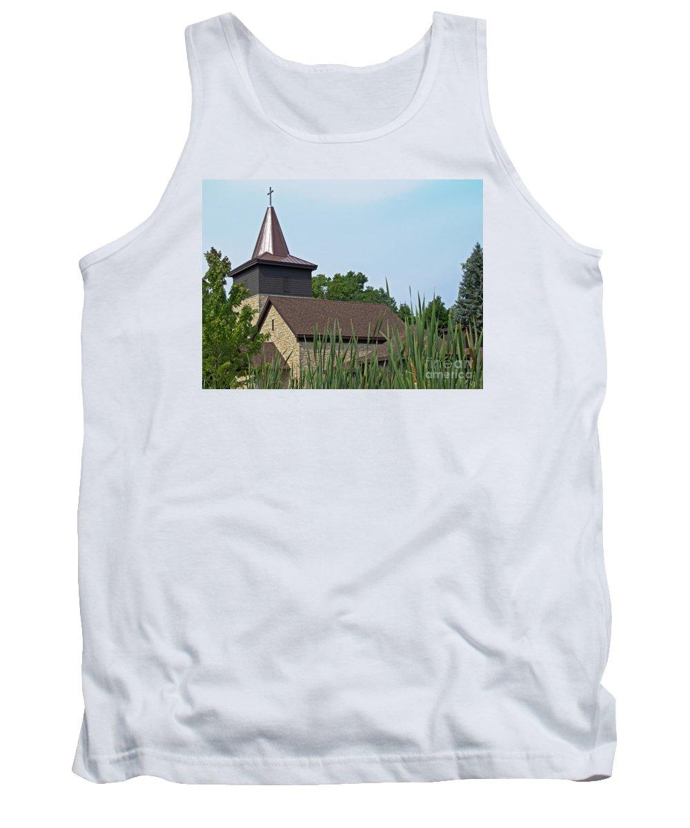 Church Tank Top featuring the photograph Rural Roadside Church by Ann Horn