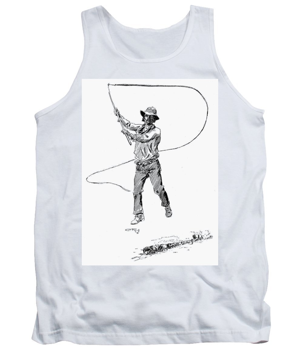 19th Century Tank Top featuring the drawing Russell Bull Whacker by Granger