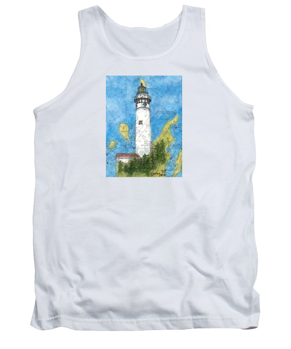 South Tank Top featuring the painting S Manitou Island Lighthouse Mi Nautical Chart Map Art by Cathy Peek