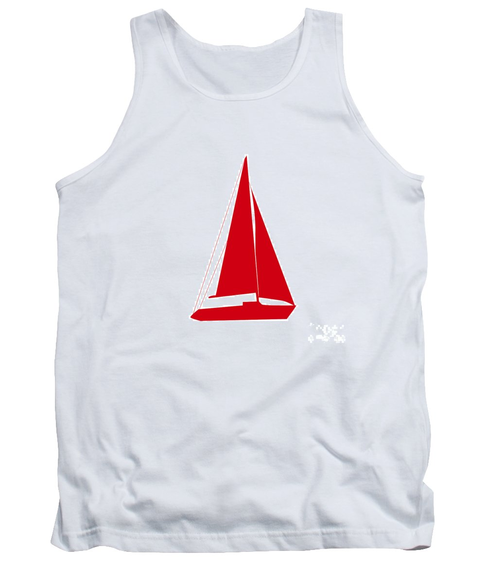 Graphic Art Tank Top featuring the digital art Sailboat In Red And White by Jackie Farnsworth