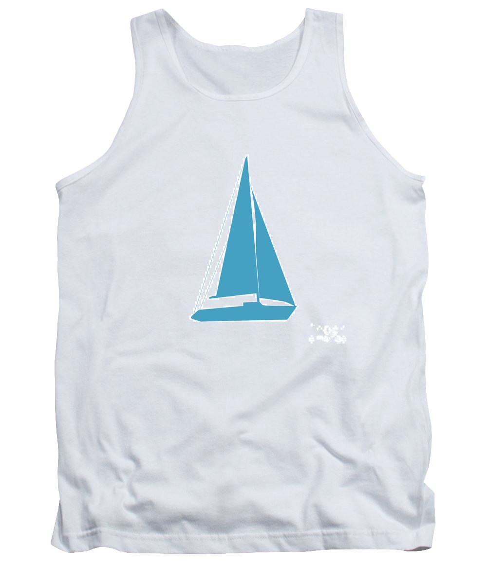Graphic Art Tank Top featuring the photograph Sailboat In White And Turquoise by Jackie Farnsworth