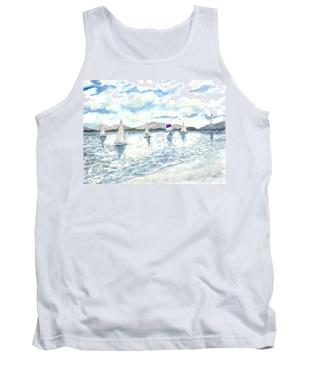 Sailboats Tank Top featuring the painting Sailboats by Derek Mccrea
