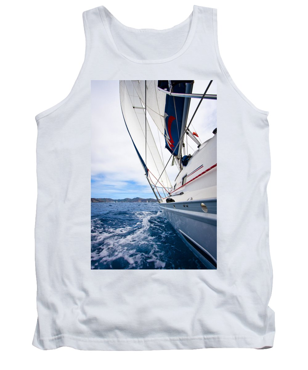 3scape Tank Top featuring the photograph Sailing Bvi by Adam Romanowicz