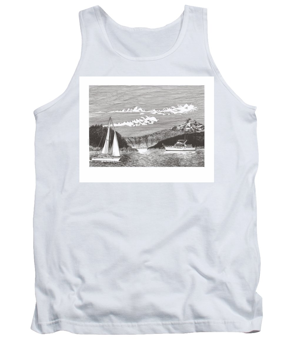 Yacht Portraits Tank Top featuring the drawing Sailing Mount Hood Oregon by Jack Pumphrey