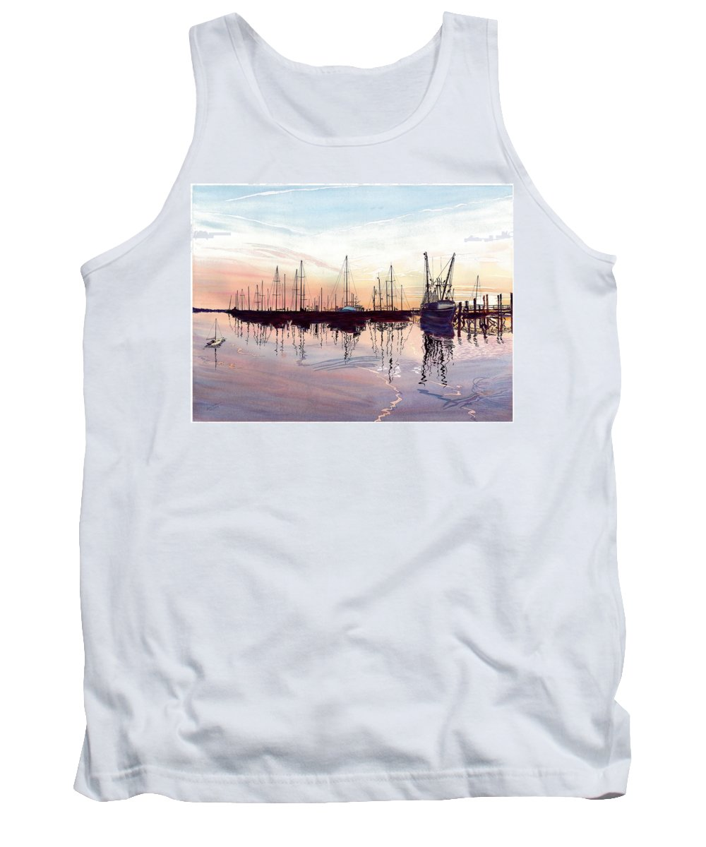 Fiery Sunset Tank Top featuring the painting Saint Marys Marina  Shadows Light And Fire by Joel Deutsch