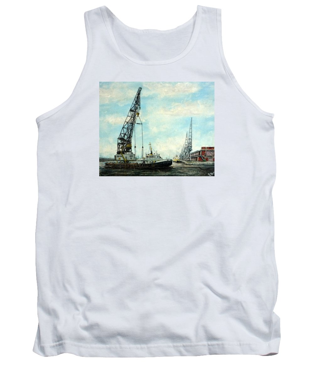 Samson Tank Top featuring the painting Samson In Victoria Dock London by Mackenzie Moulton