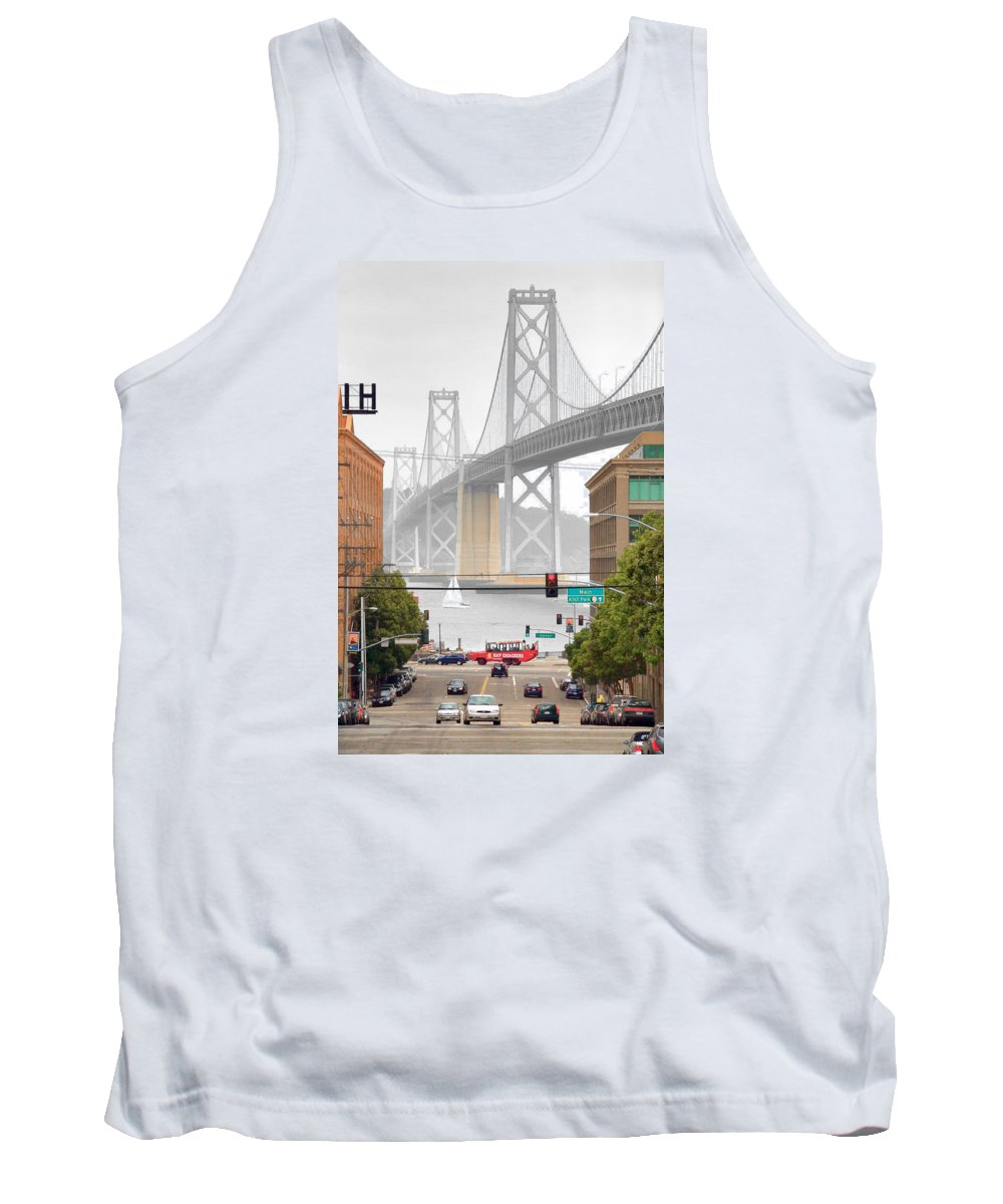 Bay Tank Top featuring the photograph San Francisco Bay Bridge And Bay Quackers by Daniel Furon