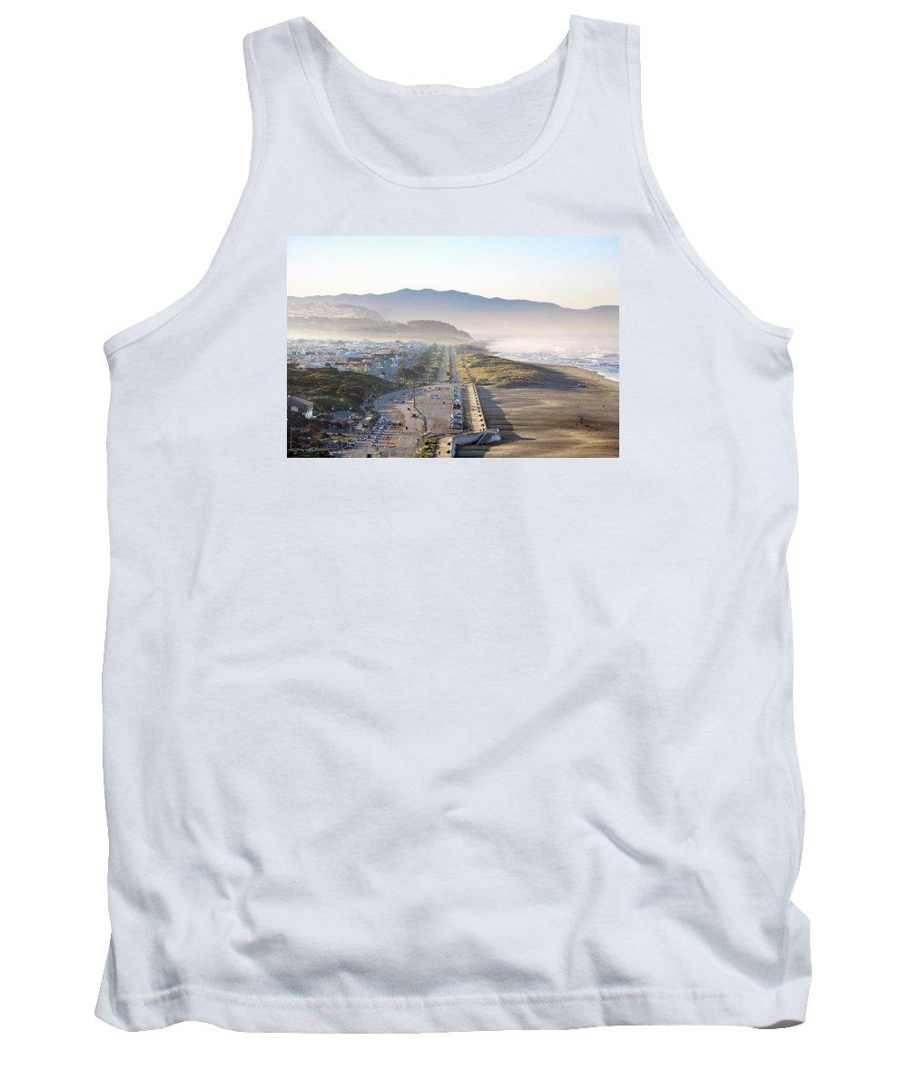 Ocean Beach Tank Top featuring the photograph San Francisco Morning - The Great Highway Ocean Beach by Daniel Furon