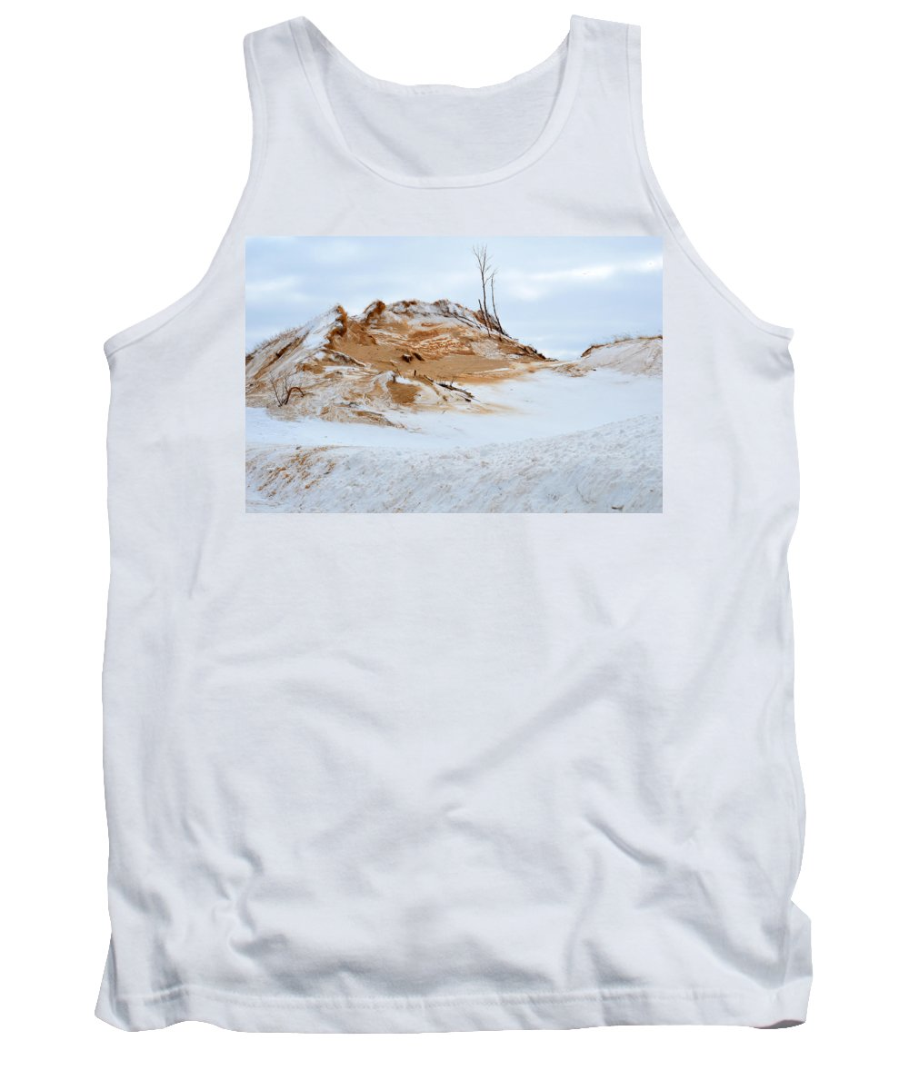 Sand Tank Top featuring the photograph Sand Dune In Winter by Linda Kerkau
