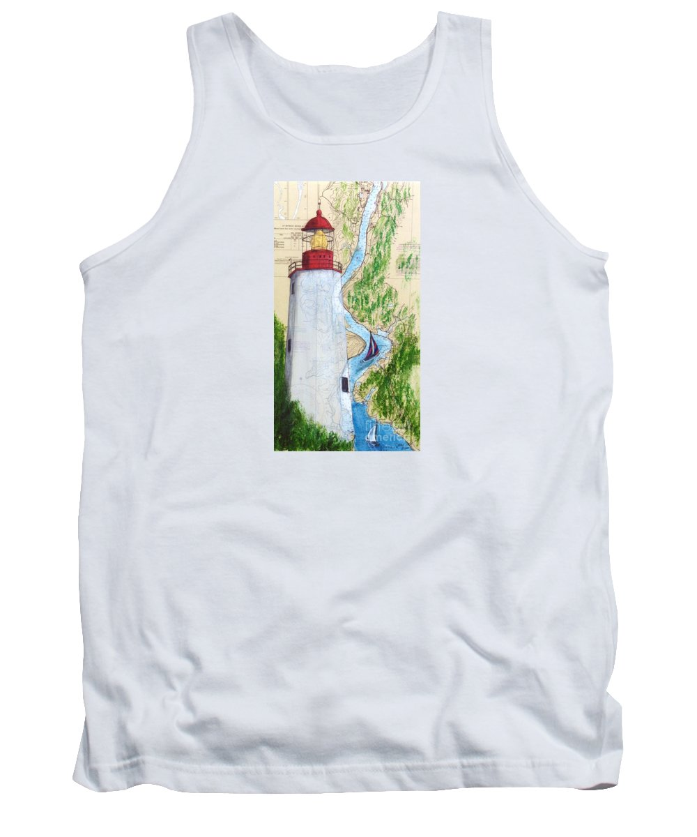 Sandy Tank Top featuring the painting Sandy Hook Lighthouse Nj Chart Map Art Peek by Cathy Peek