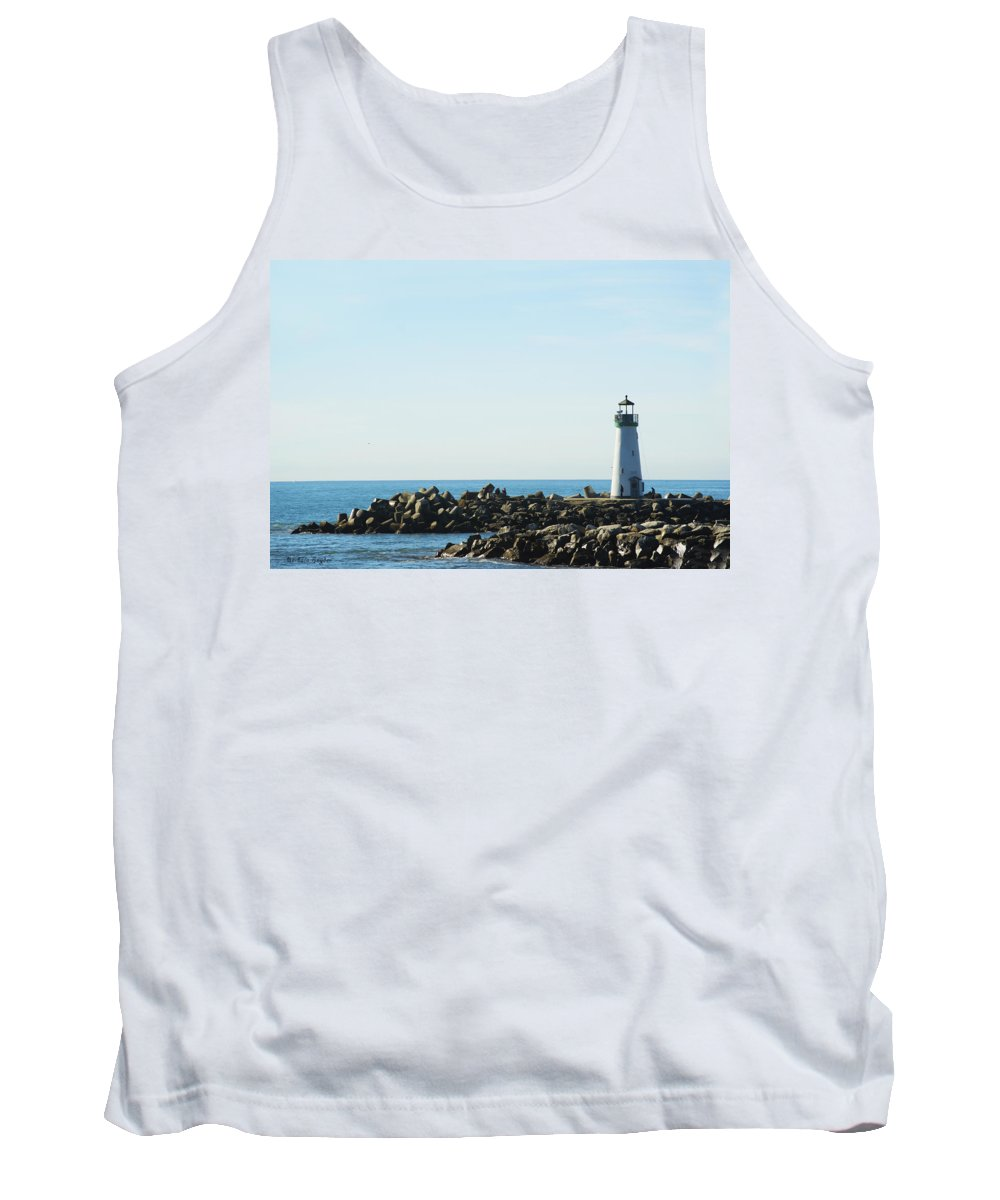 Barbara Snyder Tank Top featuring the digital art Santa Cruz California Lighthouse by Barbara Snyder