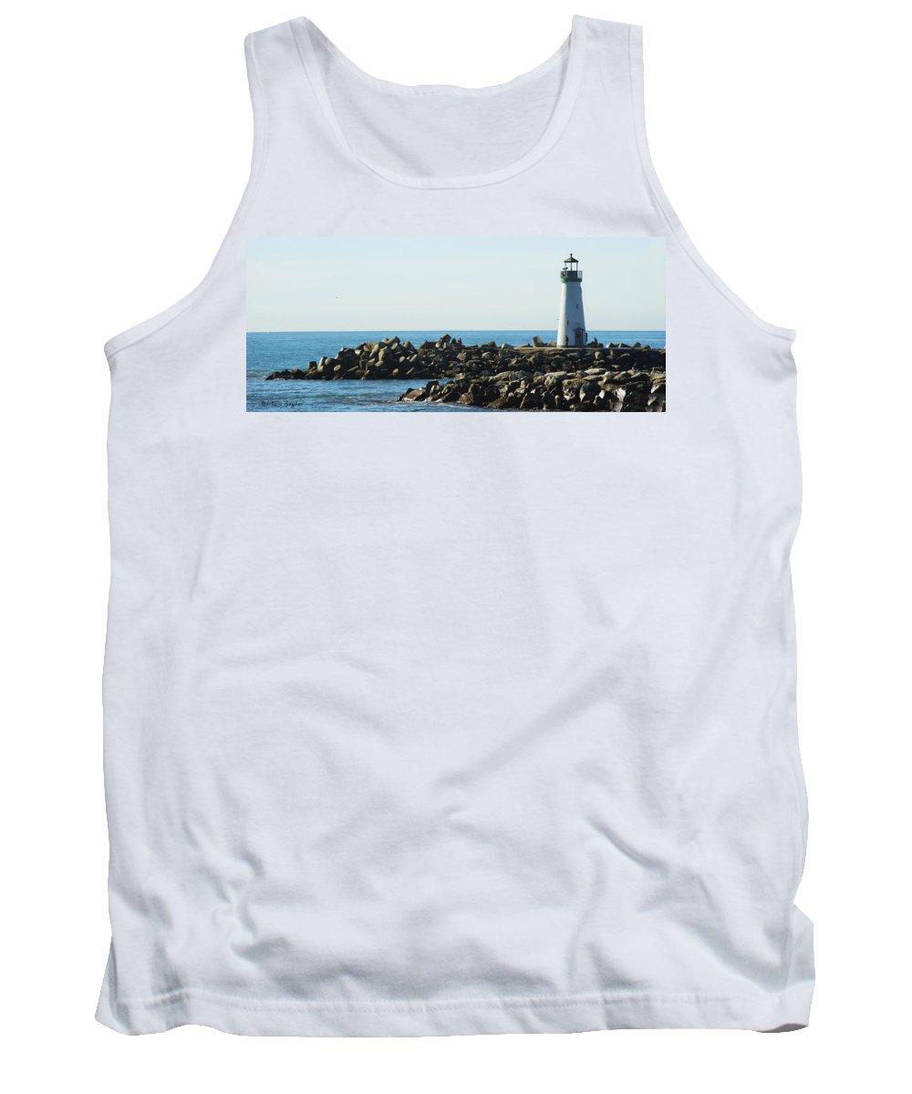 Barbara Snyder Tank Top featuring the digital art Santa Cruz Lighthouse Wide by Barbara Snyder