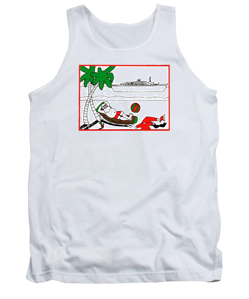 Santa Tank Top featuring the painting Santa On Vacation by Genevieve Esson