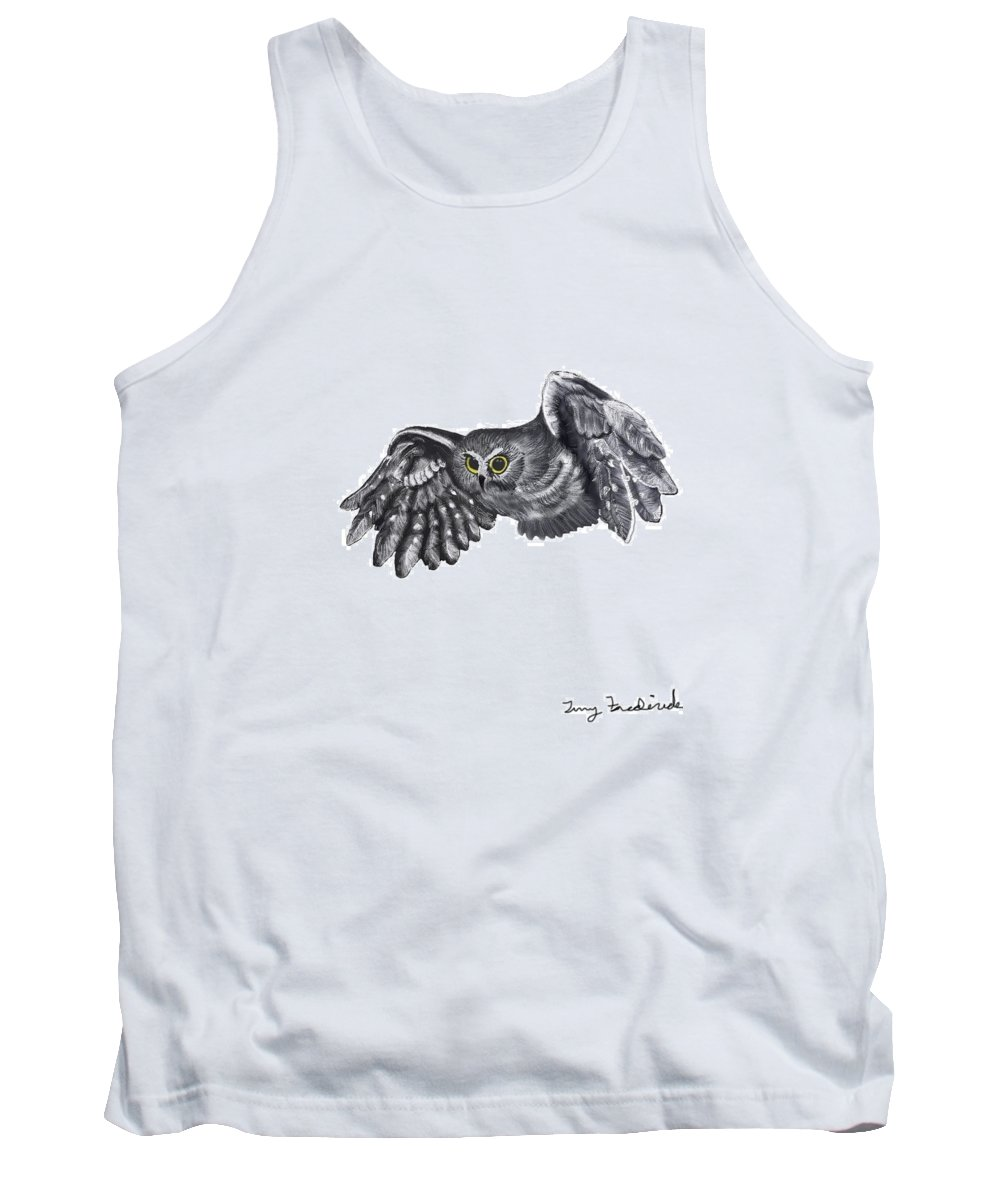 Owl Tank Top featuring the digital art Saw-whet Owl by Terry Frederick