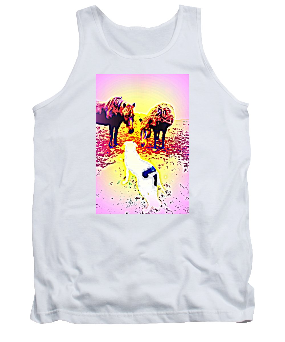 Horses Tank Top featuring the photograph It's Wise To Say Friendly Hello To The Dog, It's A Predator by Hilde Widerberg