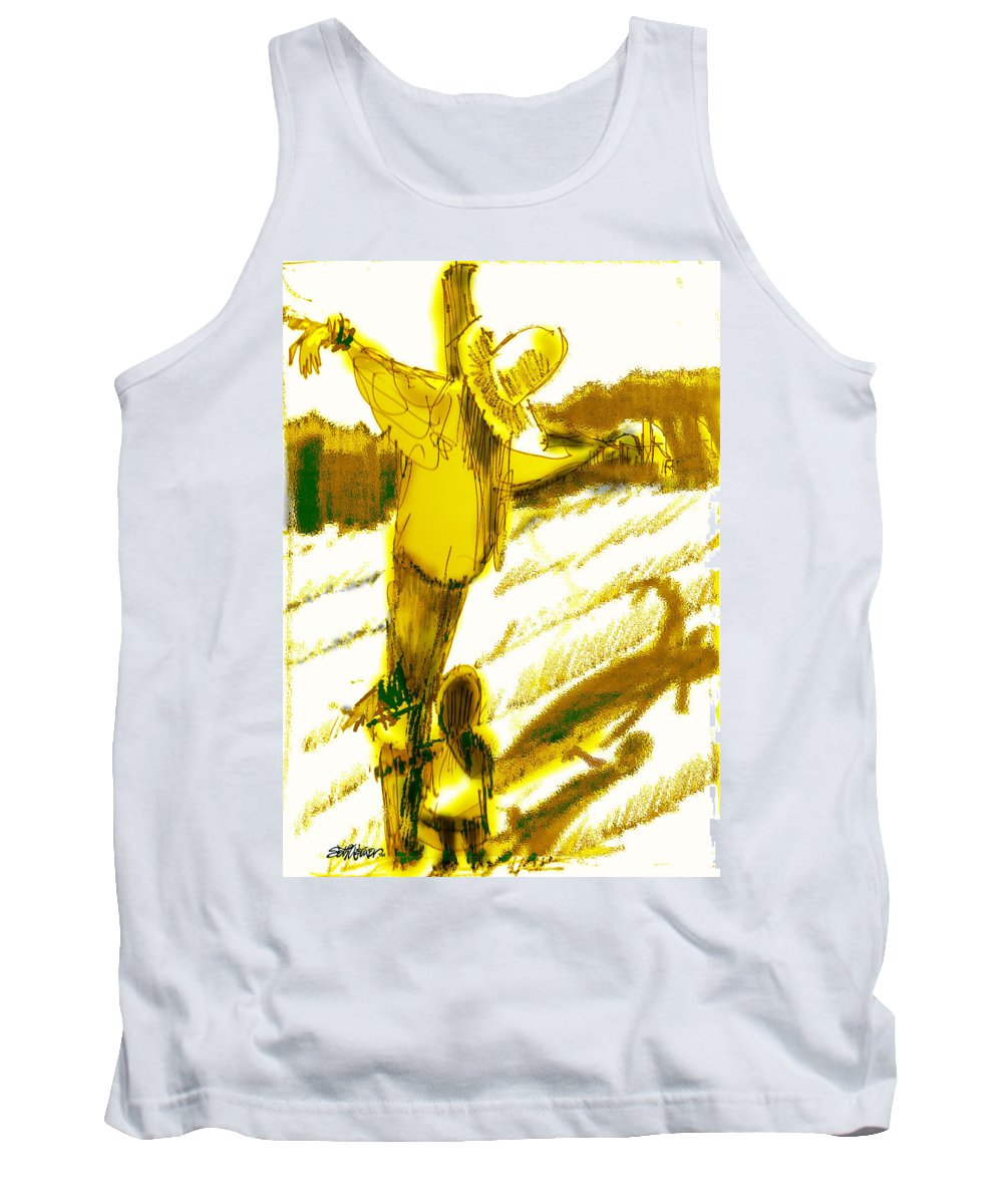 Scarecrow Babysitter Tank Top featuring the digital art Scarecrow Babysitter by Seth Weaver