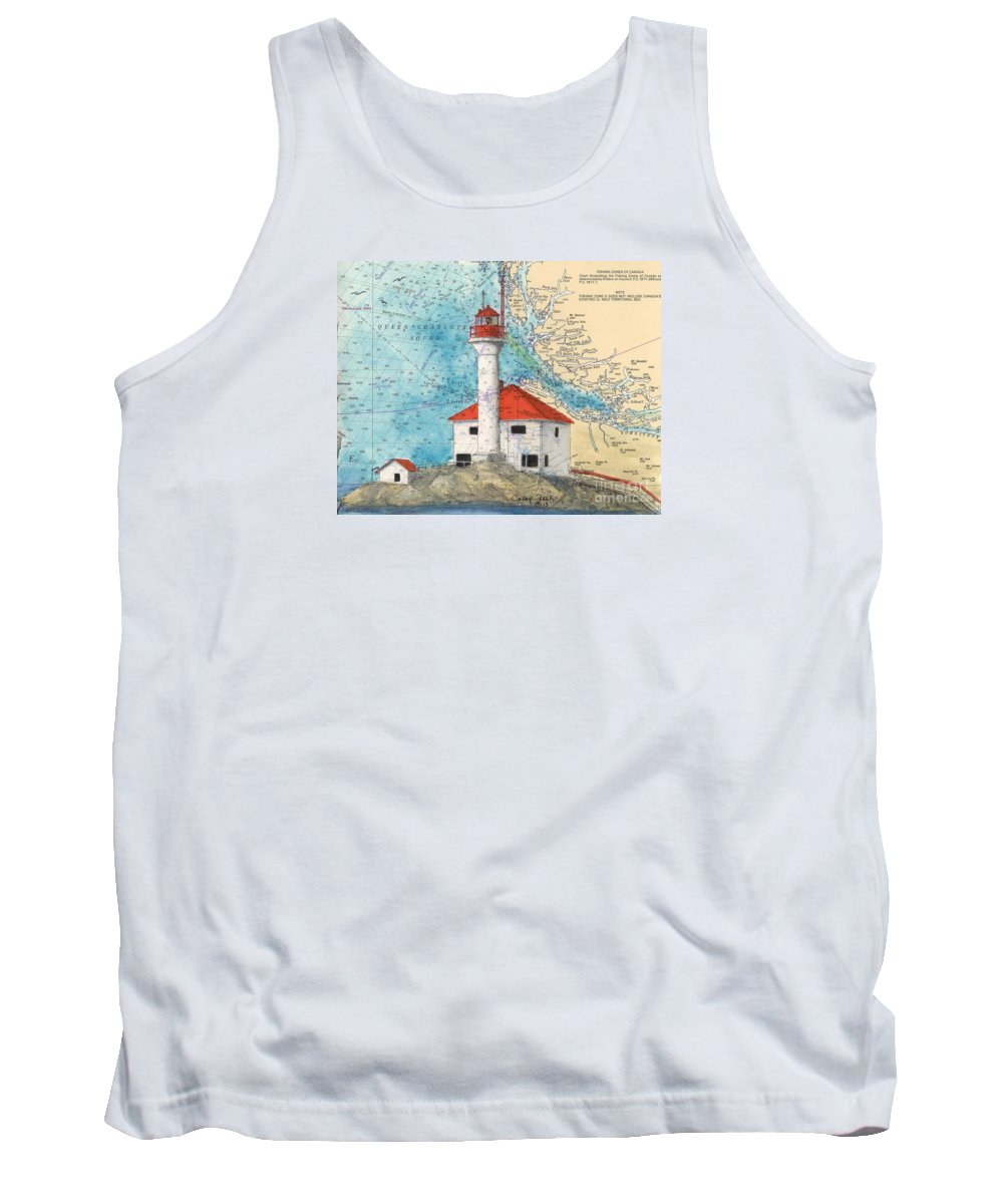 Scarlett Tank Top featuring the painting Scarlett Pt Lighthouse Bc Canada Chart Art by Cathy Peek