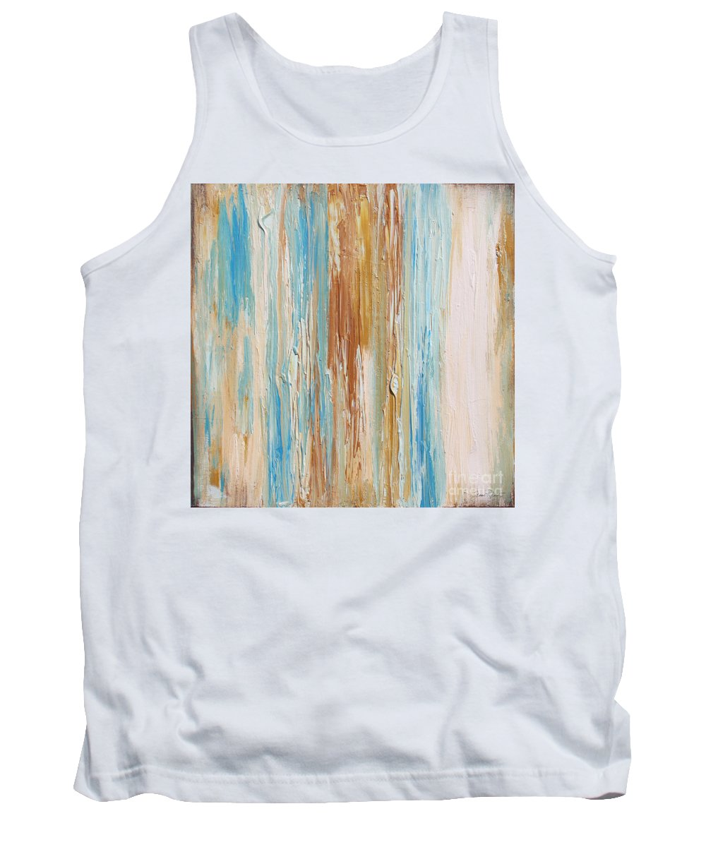 Painting Tank Top featuring the painting Sea Stripes-jp2494 by Jean Plout