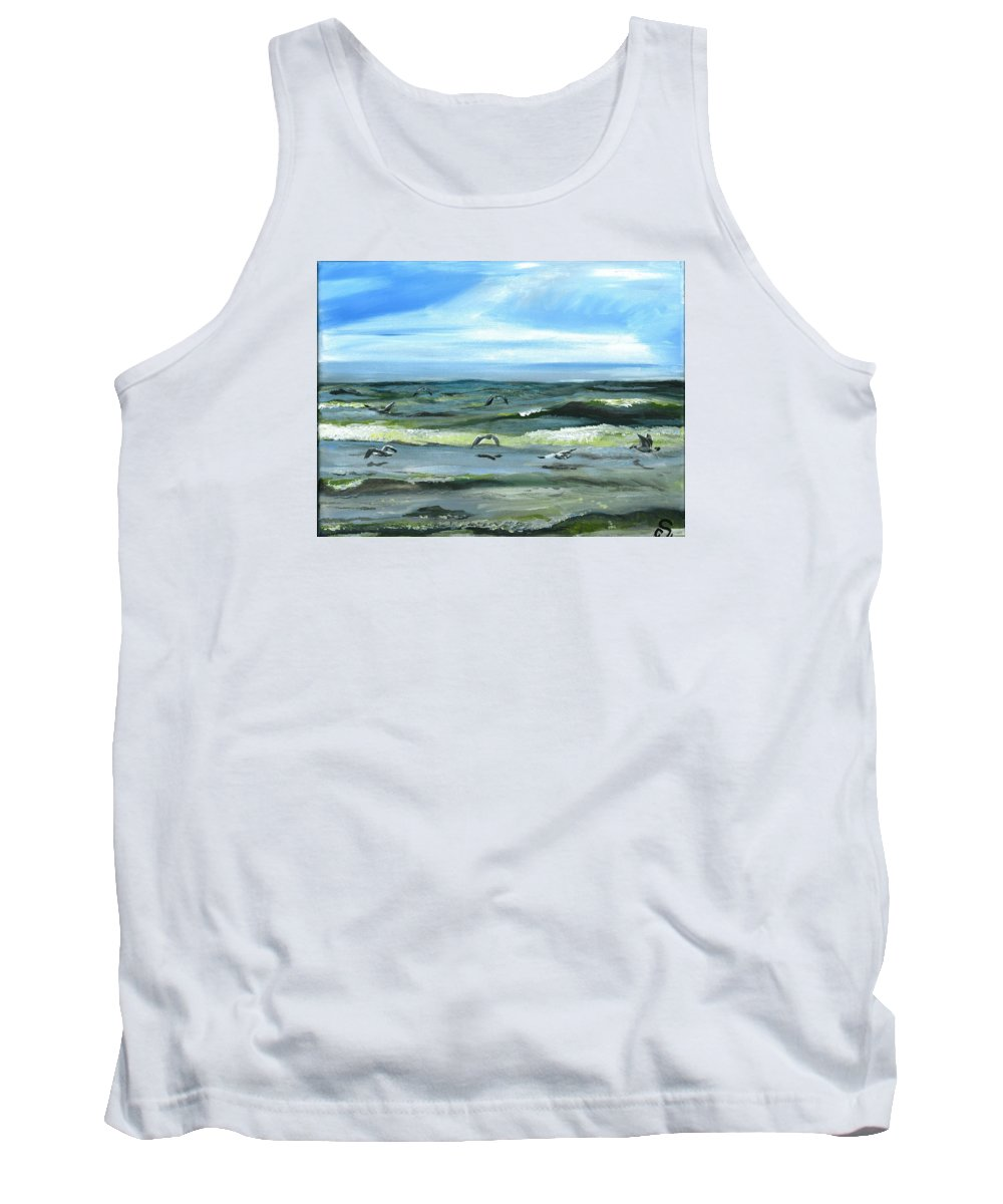 Seascape Tank Top featuring the painting Seagulls At Play by Sarah Lowe