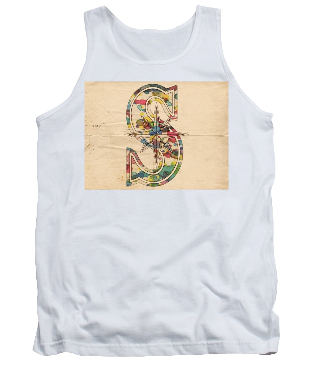 Seattle Mariners Tank Top featuring the painting Seattle Mariners Logo Art by Florian Rodarte