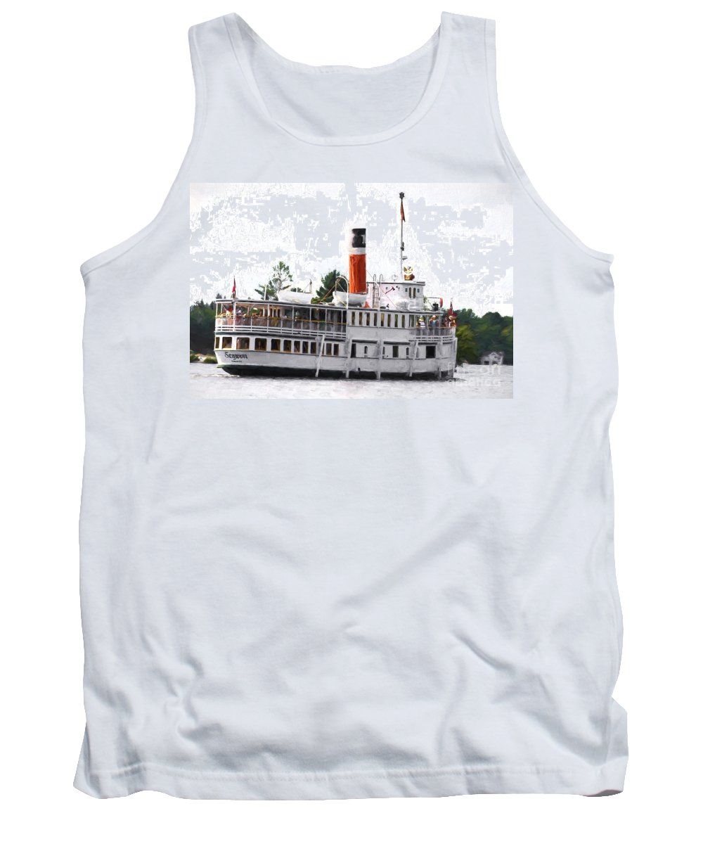 Segwun Tank Top featuring the photograph Segwun Steamboat - Painterly by Les Palenik