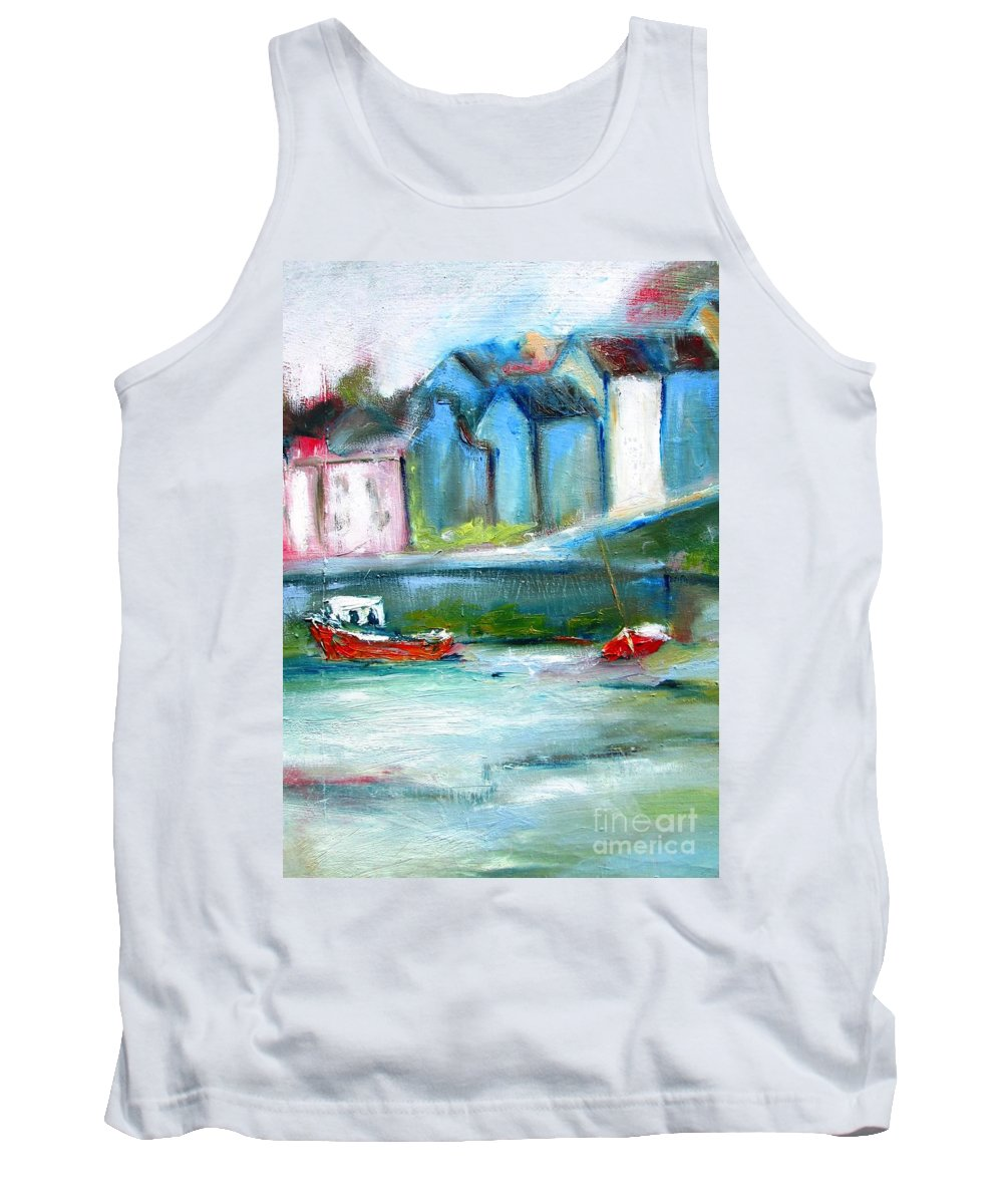 Semi Abstract Tank Top featuring the painting Semi Abstract Landscape by Mary Cahalan Lee- aka PIXI