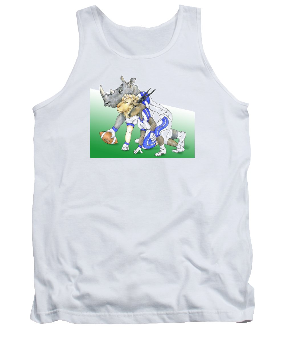 Football Tank Top featuring the drawing Serengeti Scrimage Line by Alison Stein