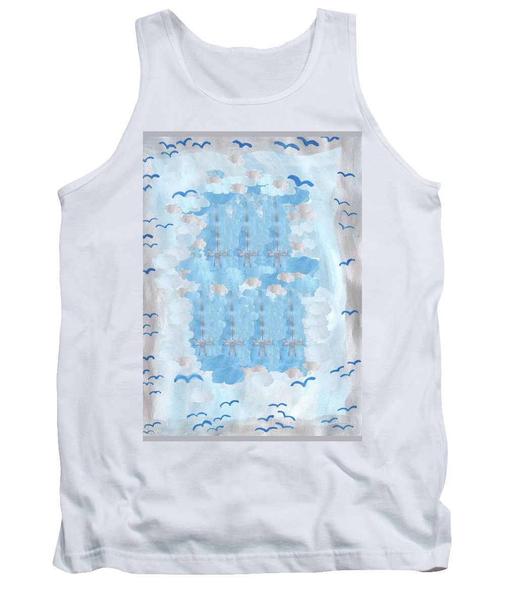 Tarot Tank Top featuring the painting Seven Of Swords by Sushila Burgess