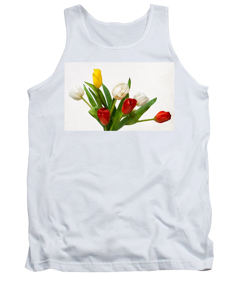 Flower Tank Top featuring the photograph Seven Tulips - Four Colors by Alexander Senin