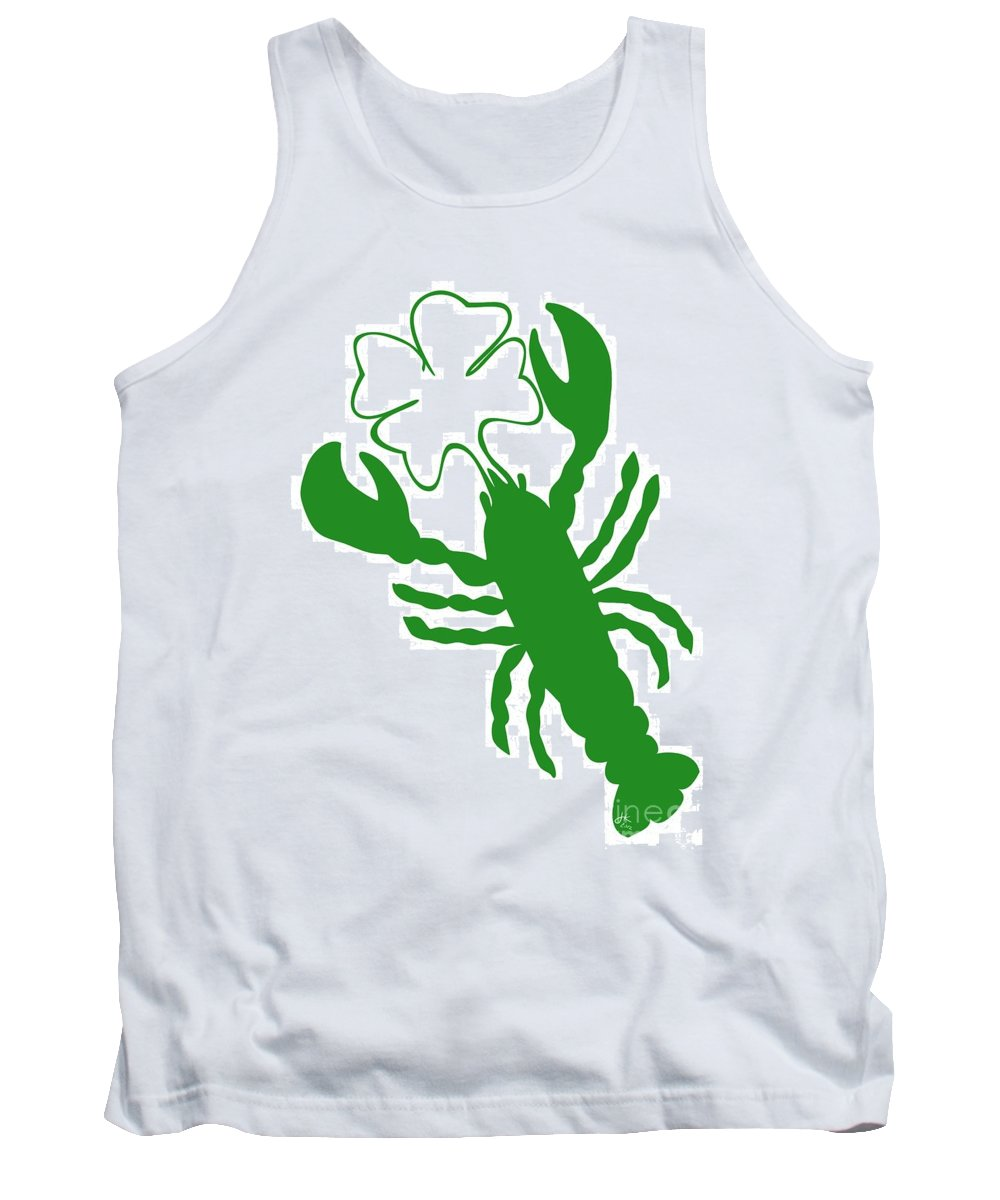 Lobster Luck Tank Top featuring the digital art Shamrock Lobster With Feelers 458 20120114 by Julie Knapp