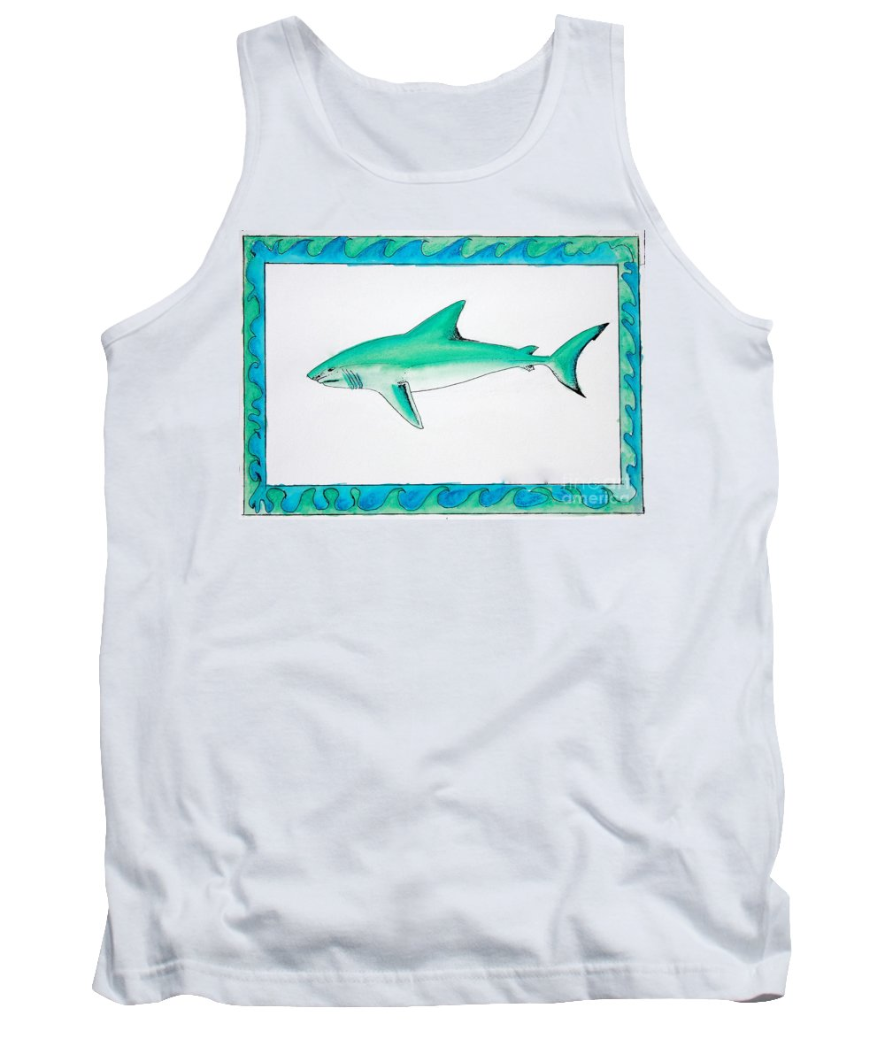 Watercolor Tank Top featuring the painting Shark Profile by Sean Hughes