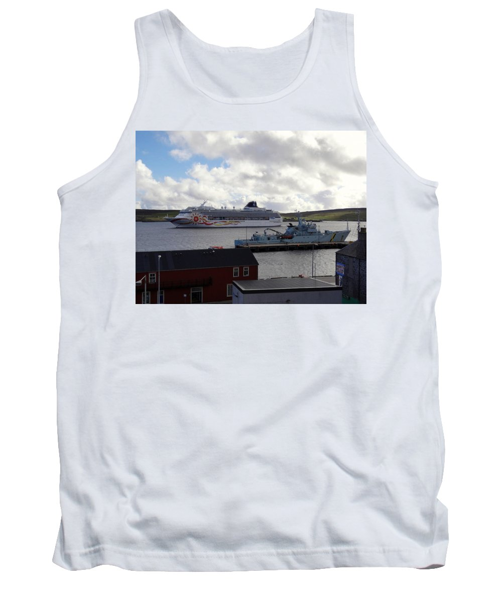 Lerwick Harbour Tank Top featuring the photograph Ships In Lerwick Harbour by Richard Rosenshein