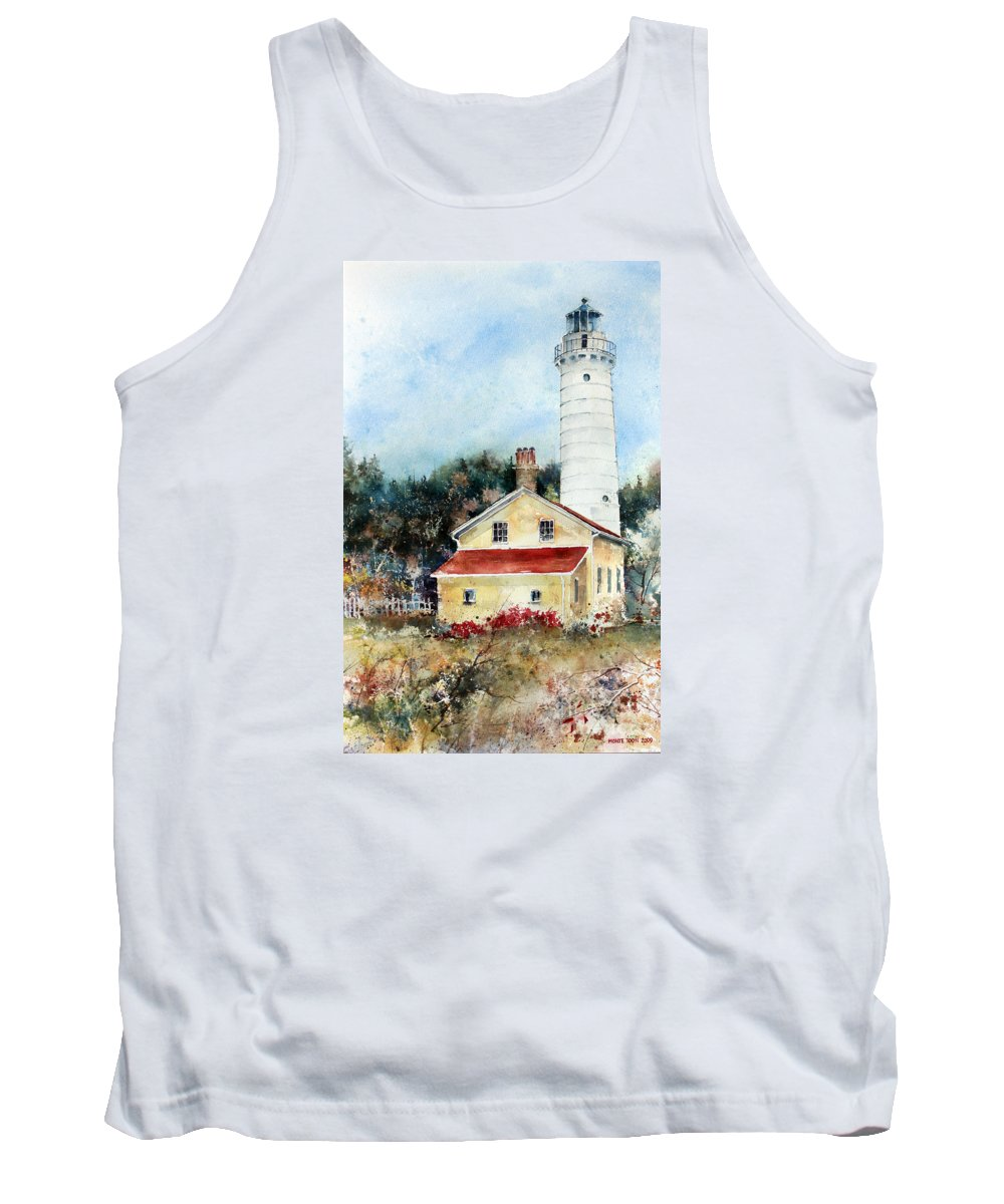 The Cana Lighthouse In Door County Tank Top featuring the painting Shore Beacon by Monte Toon