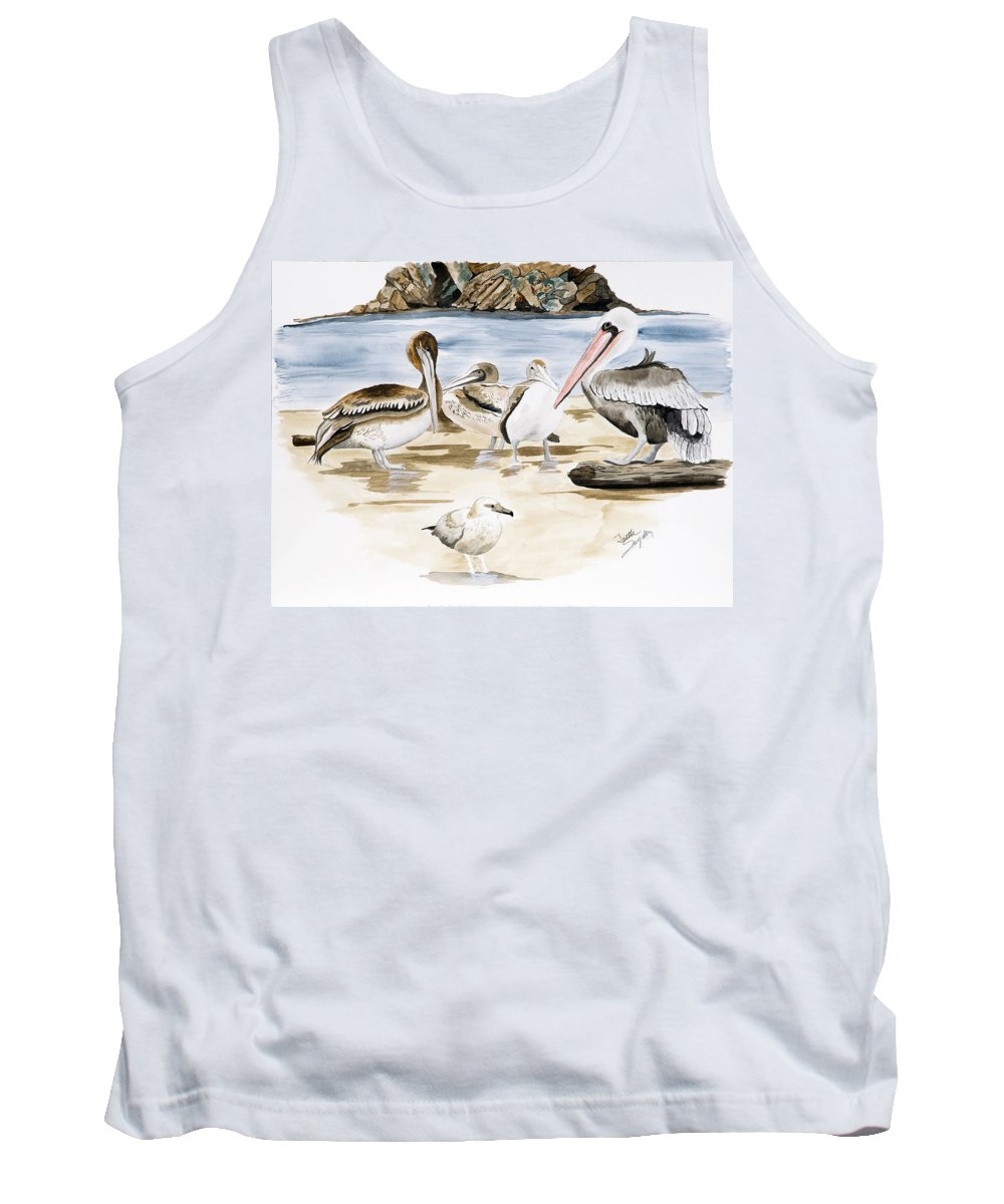 Birds Tank Top featuring the painting Shore Birds by Joette Snyder