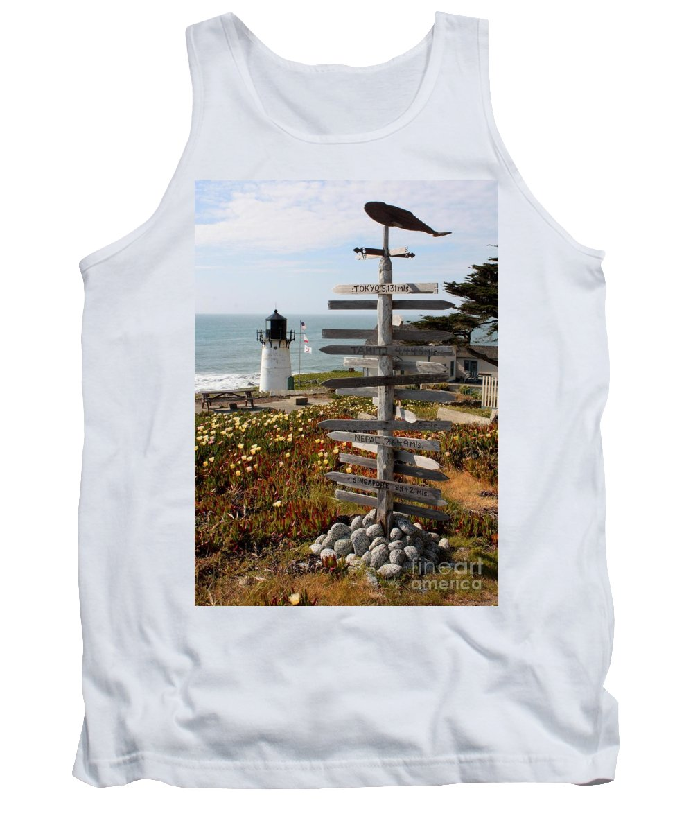 Lighthouse Tank Top featuring the photograph Sign At Point Montara by Carol Groenen