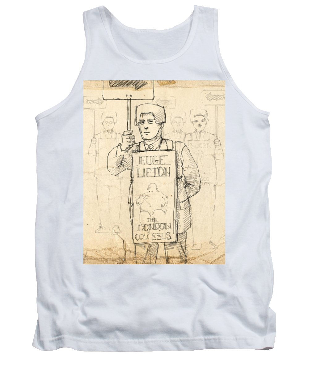 Sideshow Tank Top featuring the drawing Sign Men by H James Hoff