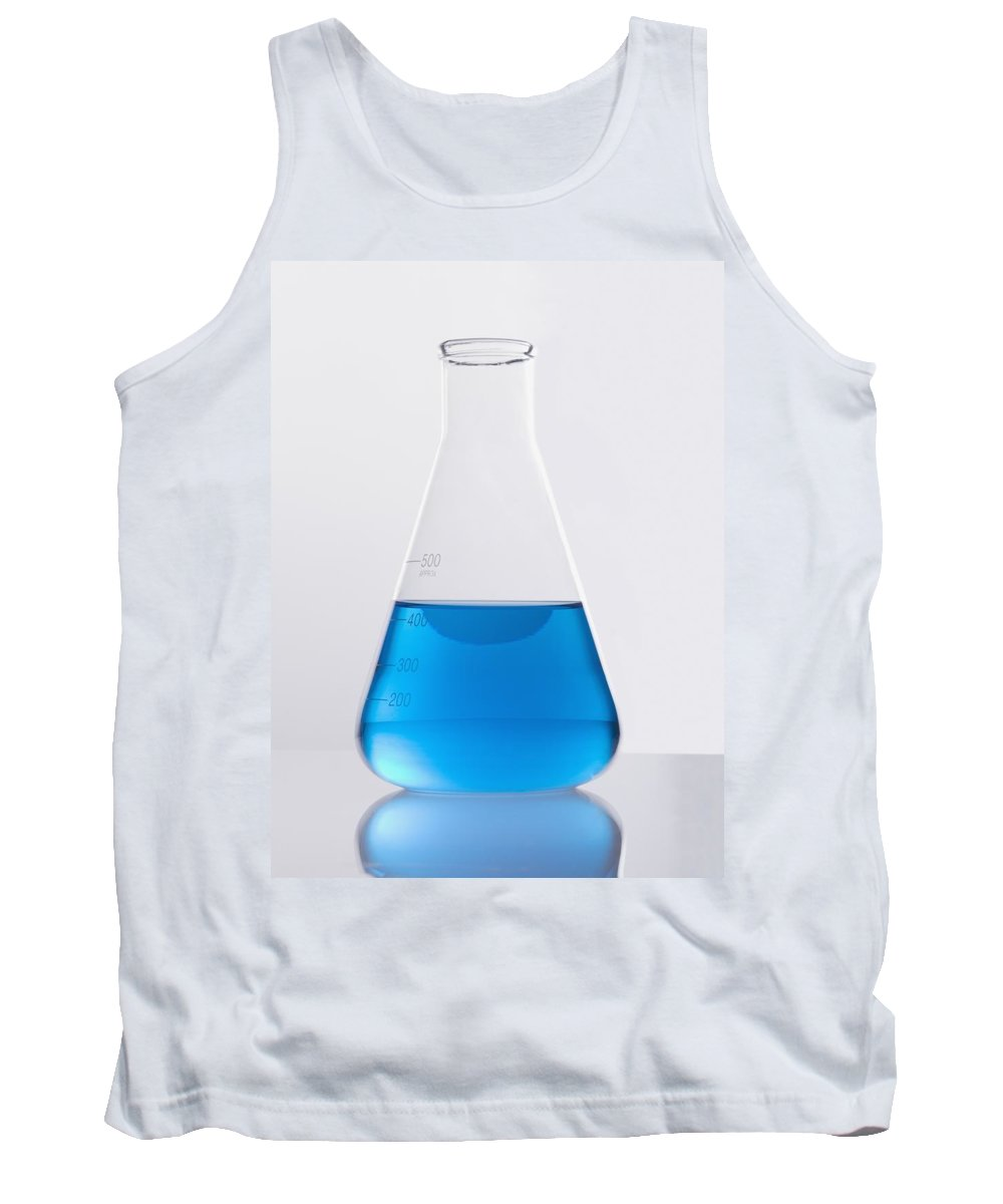 Chemical Tank Top featuring the photograph Single Glass Flask With Blue Solution by Kelly Redinger