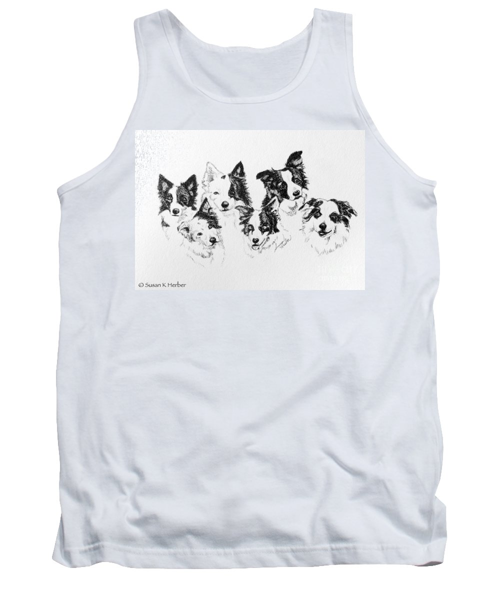 Animal Tank Top featuring the drawing Six Packed by Susan Herber